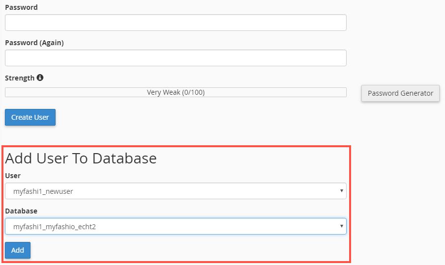 Adding database user