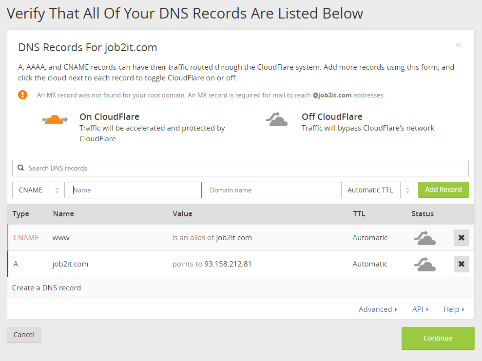 Cloudflare DNS records