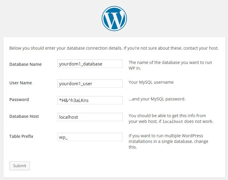 Enter your Database details