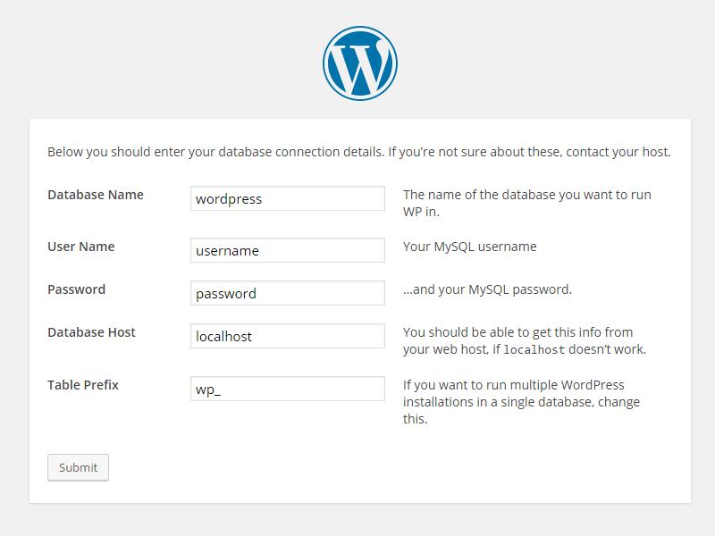 Wordpress nameserver installation