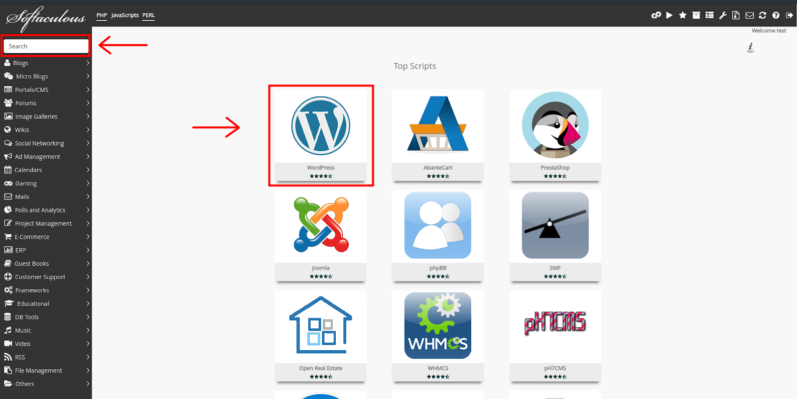 WordPress In Softaculous