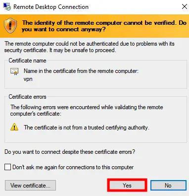 Confirm Remote Desktop Connection