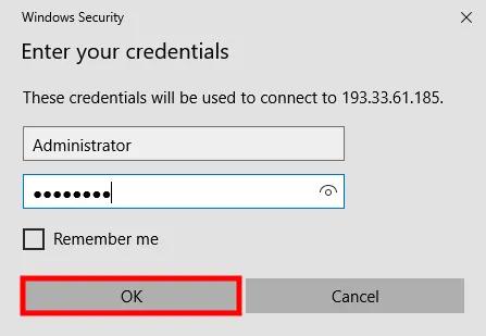 Log into Remote Desktop Connection