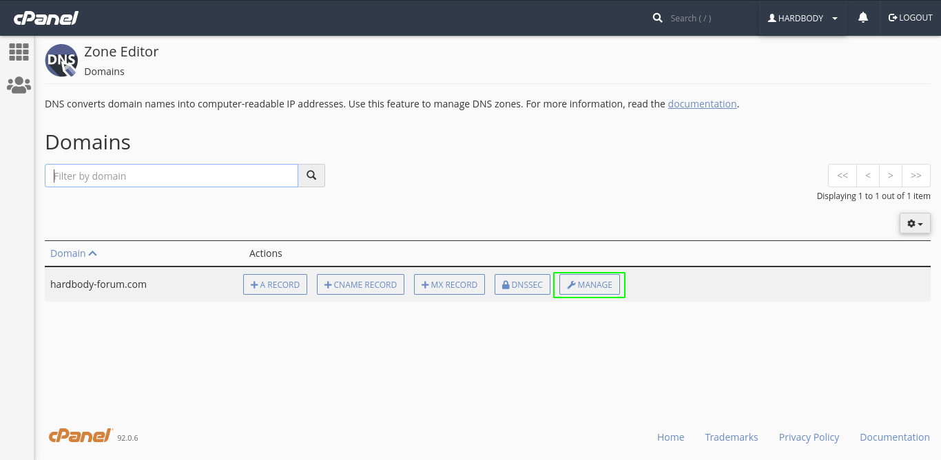 Manage Button in DNS Zone Editor