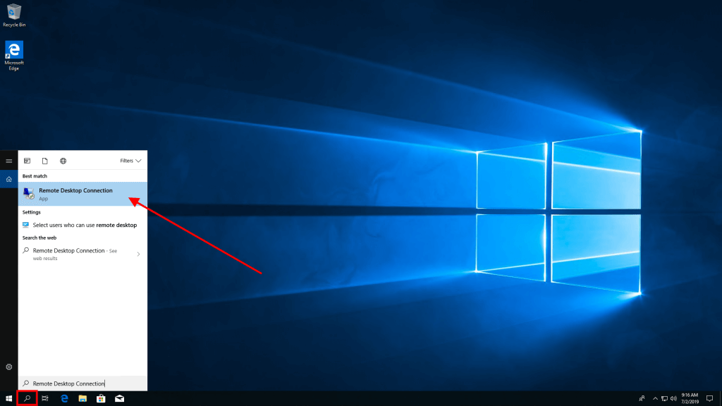 Remote Desktop Connection for Windows VPS